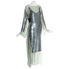 Jean Paul Gaultier green cotton trompe l'oeil sequin lace up dress, ss 1994