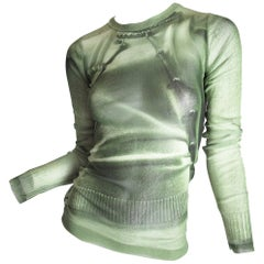 Jean Paul Gaultier Green Sheer Mesh Trompe L'oeil Top