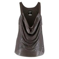 Jean Paul Gaultier Grey Metal Mesh & Knit Draped Top - Size L/XL