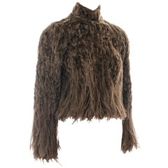 Jean Paul Gaultier Haute Couture brown fur and ostrich feather top, fw 1999