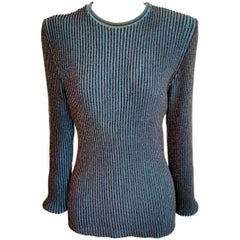 Jean Paul Gaultier Homme Label Ribbed Sweater with Lurex