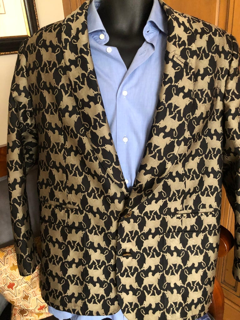Jean Paul Gaultier Homme Pour Gibo 1980's Griffin Brocade Jacket . There is no size tag, appx 42-44 US Chest 44