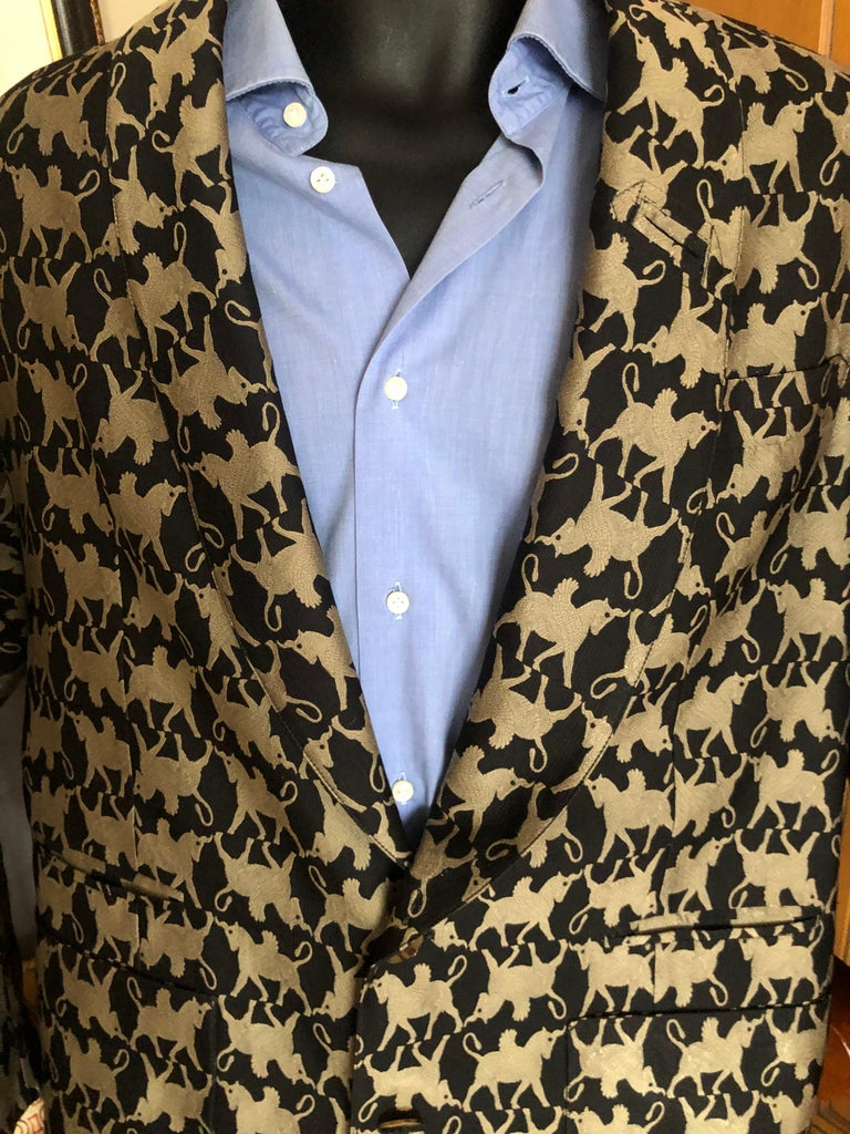 Black Jean Paul Gaultier Homme Pour Gibo 1980's Griffin Brocade Jacket  For Sale