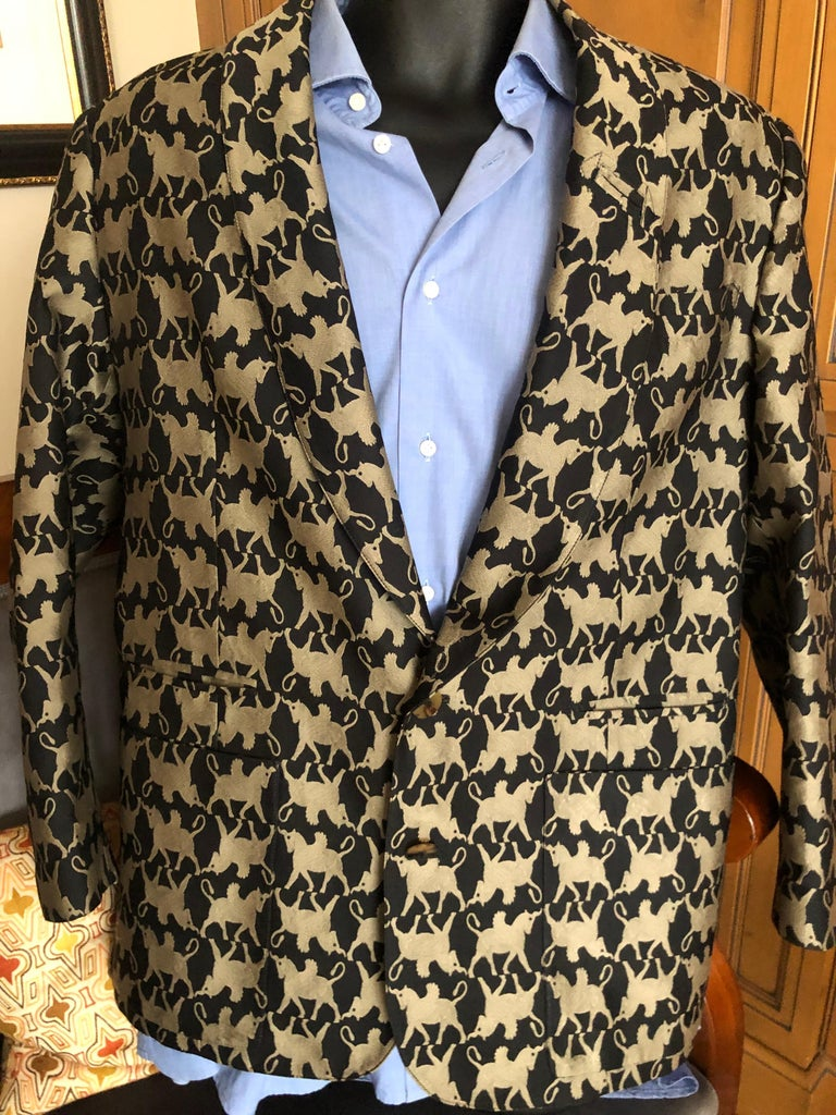 Jean Paul Gaultier Homme Pour Gibo 1980's Griffin Brocade Jacket  For Sale 2