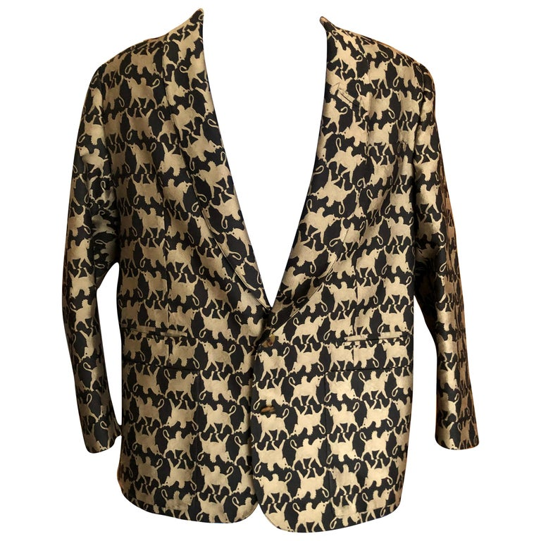 Jean Paul Gaultier Homme Pour Gibo 1980's Griffin Brocade Jacket  For Sale