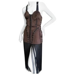 """Jean Paul Gaultier Iconic 1989 """"Like a Virgin"""" Cone Bra Corset with Fringe"""