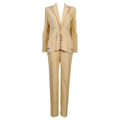 Jean Paul Gaultier Iconic Vintage Peach Corset-Inspired Pant Suit USA Size 6