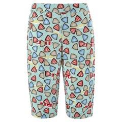 JEAN PAUL GAULTIER JPG Jean's c.1990's Teal Multicolor Shell Bermuda Long Shorts