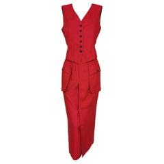 Jean Paul Gaultier Junior Gaultier Red Linen Skirt and Waistcoat