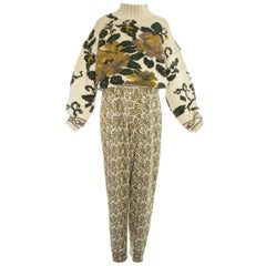 Jean Paul Gaultier knitted wool floral sweater and stirrup pants set, fw 1984