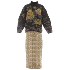 Jean Paul Gaultier knitted wool floral tapestry sweater and skirt set, ca. 1984