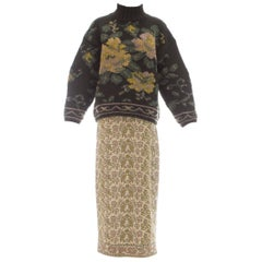 Jean Paul Gaultier knitted wool floral tapestry sweater and skirt set, fw 1984