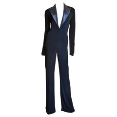 Jean Paul Gaultier Leather Collar Plunge Jersey Jumpsuit