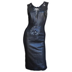 Jean Paul Gaultier Leather Front Bodycon Dress