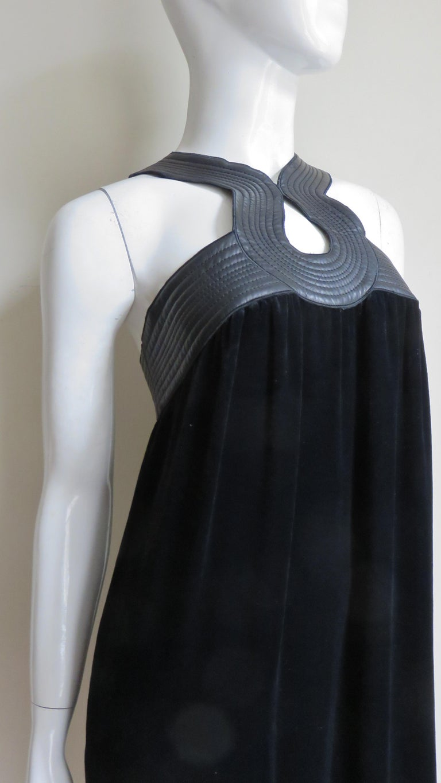 Jean Paul Gaultier Leather Neckline Silk Velvet Dress For Sale 6
