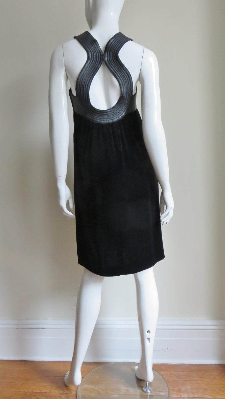 Jean Paul Gaultier Leather Neckline Silk Velvet Dress For Sale 10