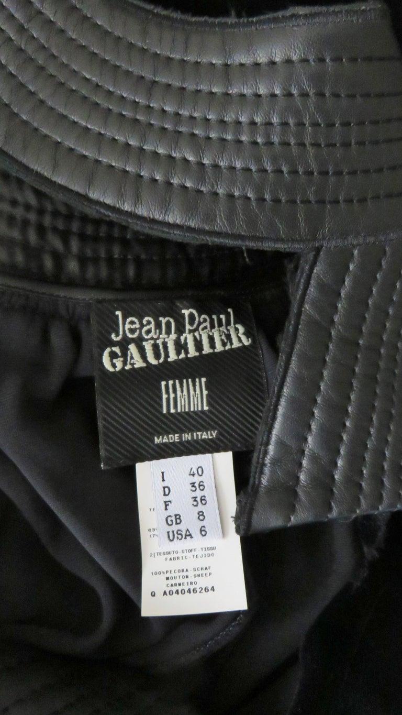 Jean Paul Gaultier Leather Neckline Silk Velvet Dress For Sale 11