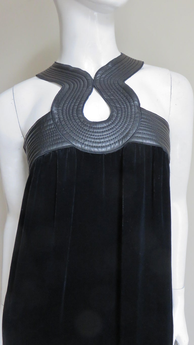 Jean Paul Gaultier Leather Neckline Silk Velvet Dress In Good Condition For Sale In New York, NY