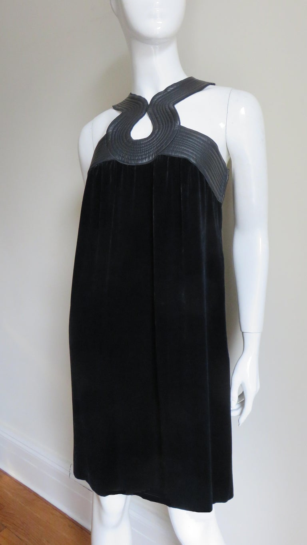 Women's Jean Paul Gaultier Leather Neckline Silk Velvet Dress For Sale