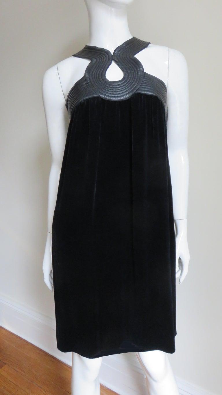 Jean Paul Gaultier Leather Neckline Silk Velvet Dress For Sale 2
