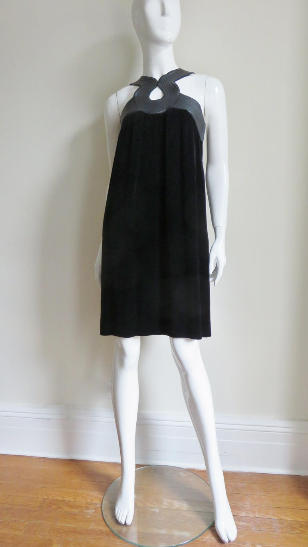 Jean Paul Gaultier Leather Neckline Silk Velvet Dress For Sale 4