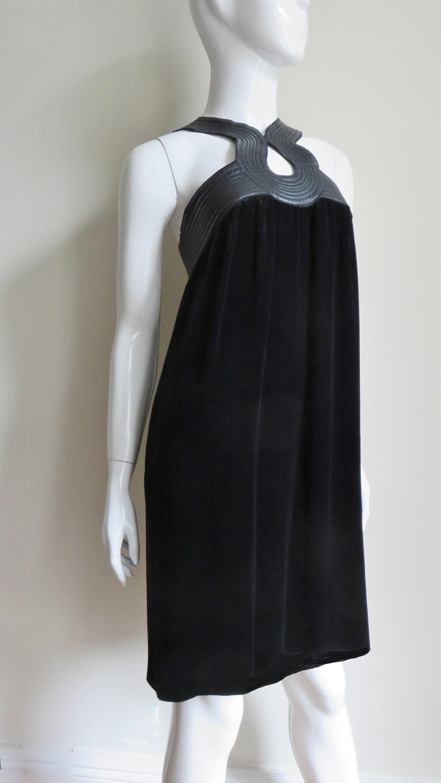 Jean Paul Gaultier Leather Neckline Silk Velvet Dress For Sale 5