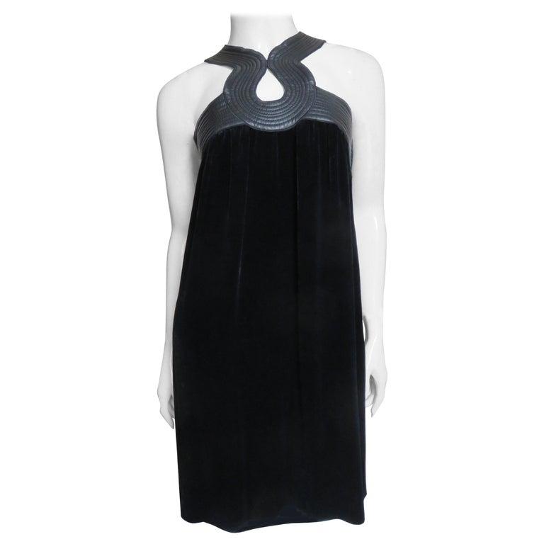 Jean Paul Gaultier Leather Neckline Silk Velvet Dress For Sale