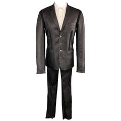 JEAN PAUL GAULTIER M Black Metallic Spakle Knit Trim Slim Leg Notch Lapel Suit