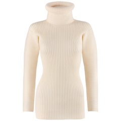 JEAN PAUL GAULTIER Mailie c.1990's Ivory Turtleneck Ribbed Knit Wool Sweater
