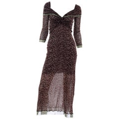 Vintage Jean Paul Gaultier Maille Classique Brown Stretch Mesh Dress W Logo Trim