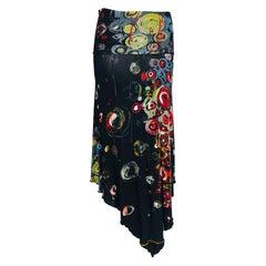 Jean Paul Gaultier Maille Femme Printed Mesh Asymmetrical Skirt