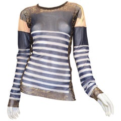 Jean Paul Gaultier Maille Homme Striped Knit Mesh Top