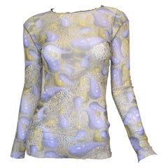 Jean Paul Gaultier Maille Mesh Knit Top with Paisley Print