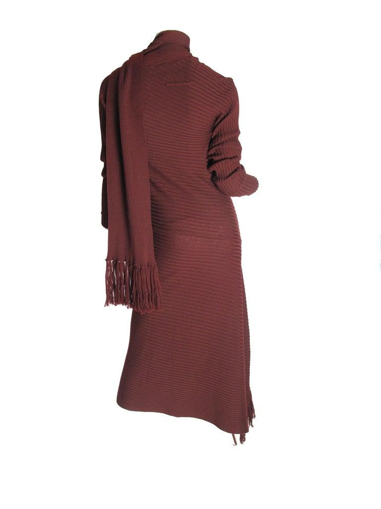 Brown Jean Paul Gaultier Maroon Knit Dress, 1990s For Sale