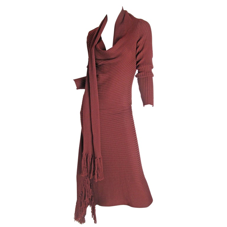 Jean Paul Gaultier Maroon Knit Dress, 1990s For Sale