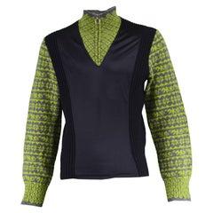 Jean Paul Gaultier Men's Vintage Black, Green & Gray Wool Sweater, 1990s