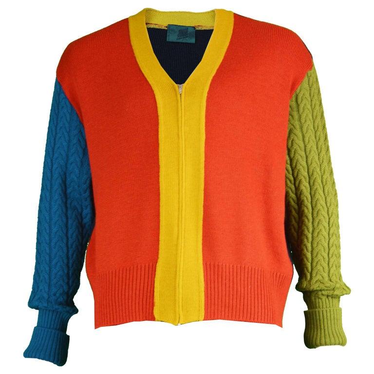 Jean Paul Gaultier Mens Vintage Color Block Zip Up Cardigan Sweater
