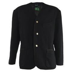 Jean Paul Gaultier Men's Vintage Wool Collarless Shoulder Padded Jacket, 1980s