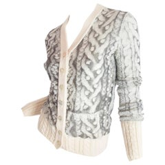 Jean Paul Gaultier mesh and wool printed cardigan