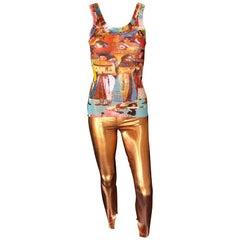 Jean Paul Gaultier Metallic Fitted Stretch Leggings Pants
