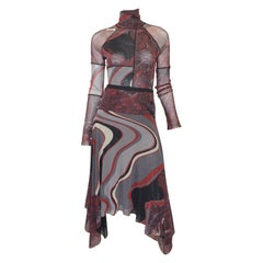 Jean Paul Gaultier Mixed Print Mesh Top and Skirt Set