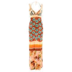 Jean Paul Gaultier Multi-Print Long Dress UK 8