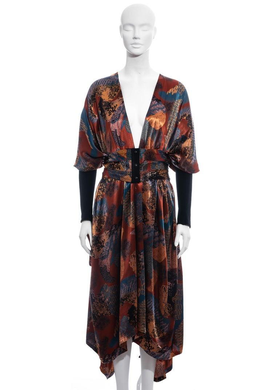 Black Jean Paul Gaultier multicoloured satin evening robe and cummerbund, fw 1984 For Sale