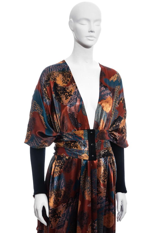 Women's Jean Paul Gaultier multicoloured satin evening robe and cummerbund, fw 1984 For Sale