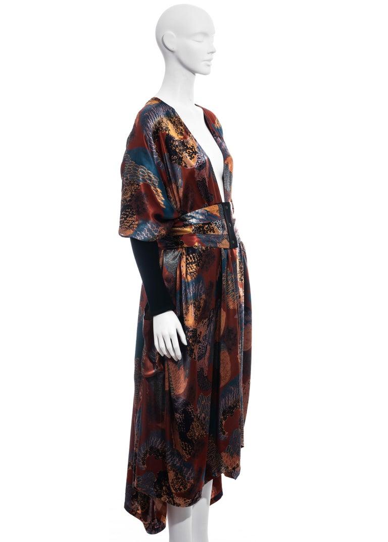 Jean Paul Gaultier multicoloured satin evening robe and cummerbund, fw 1984 For Sale 1