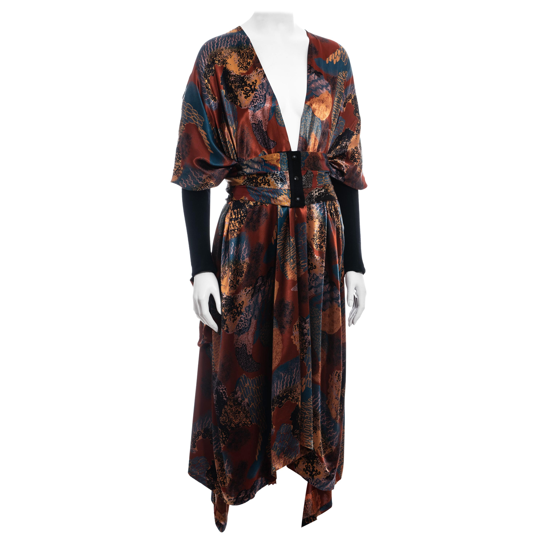 Jean Paul Gaultier multicoloured satin evening robe and cummerbund, fw 1984