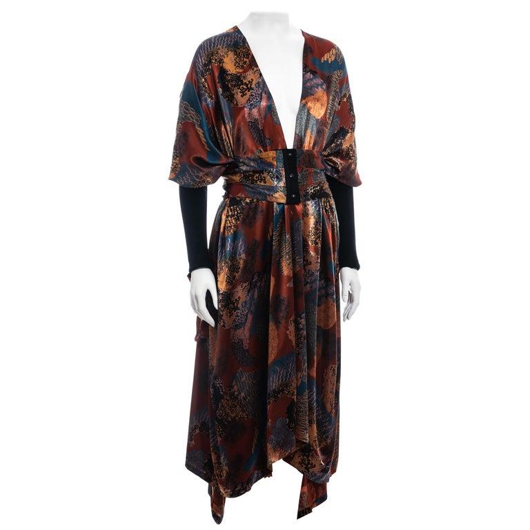 Jean Paul Gaultier multicoloured satin evening robe and cummerbund, fw 1984 For Sale