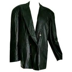 """Jean Paul GAULTIER """"New"""" Black Lambskin Unisex Double-breasted Jacket - Unworn"""