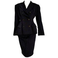 "Jean Paul GAULTIER ""New"" Black with Gray lines Wool Skirt Suit - Unworn"