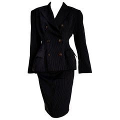"Jean Paul GAULTIER ""New"" Black with Gray lines Wool Skirt Suit - Unworn"